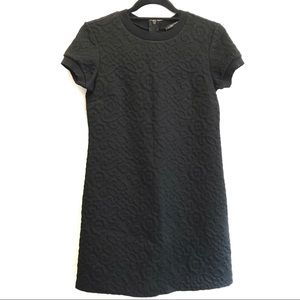 NWT Zara Black Quilted Brocade Shift Dress SMALL S